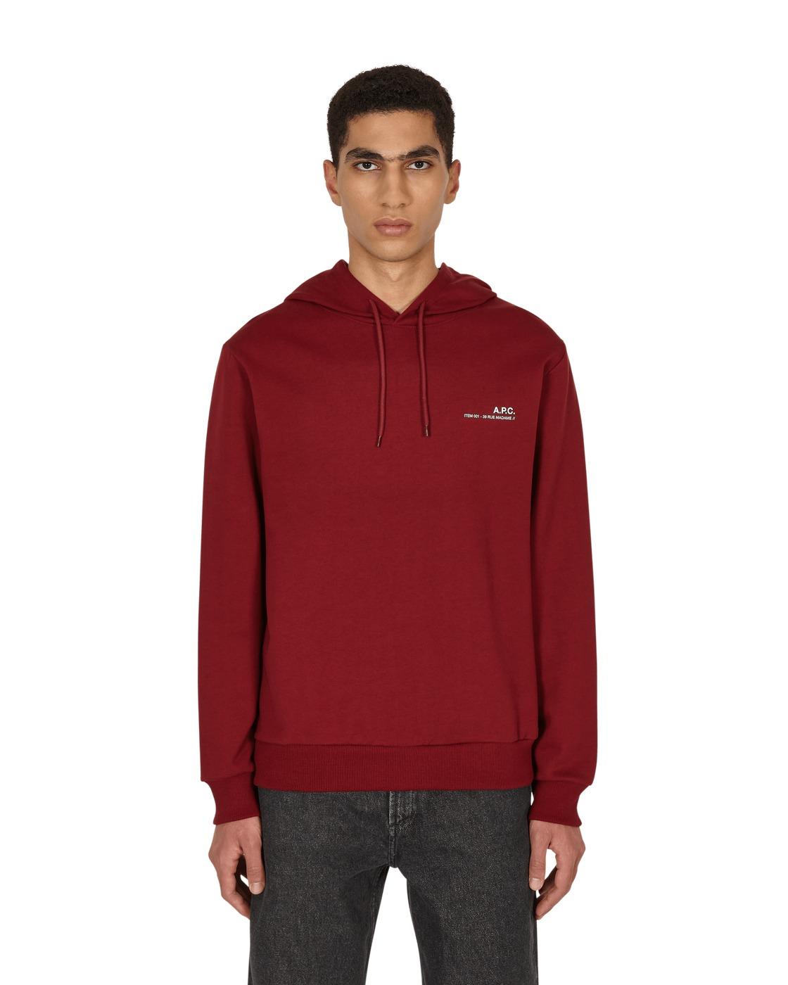 Photo: A.P.C. Item Hooded Sweatshirt Gab Dark Red