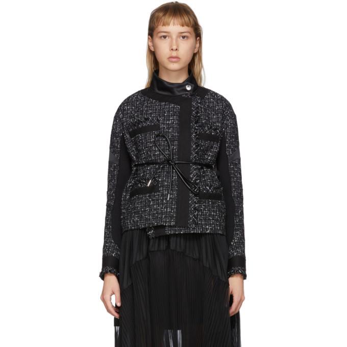 Sacai Black Wool Summer Tweed Belted Jacket