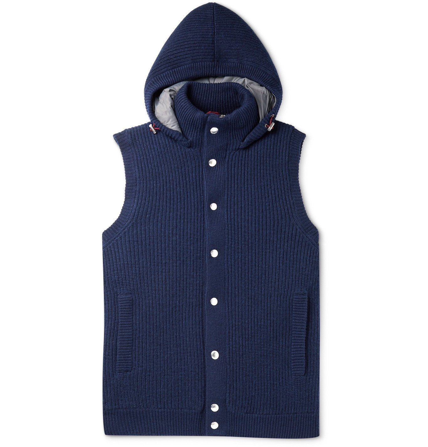 Photo: Brunello Cucinelli - Slim-Fit Ribbed Cashmere Hooded Down Gilet - Blue
