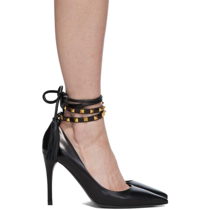 Photo: Valentino Black Valentino Garavani Ankle Strap Rockstud 100 Heels