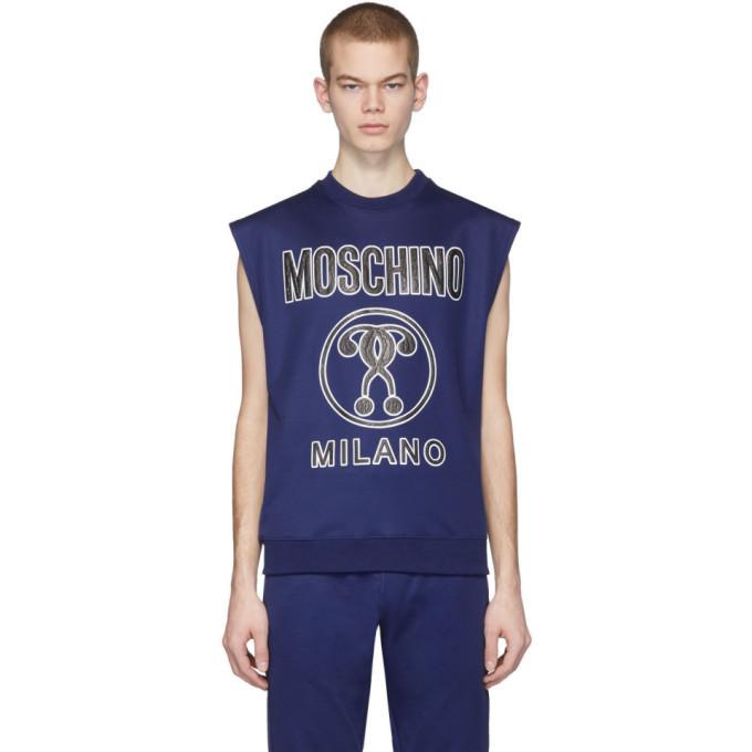 Photo: Moschino Blue Logo Sleeveless T-Shirt