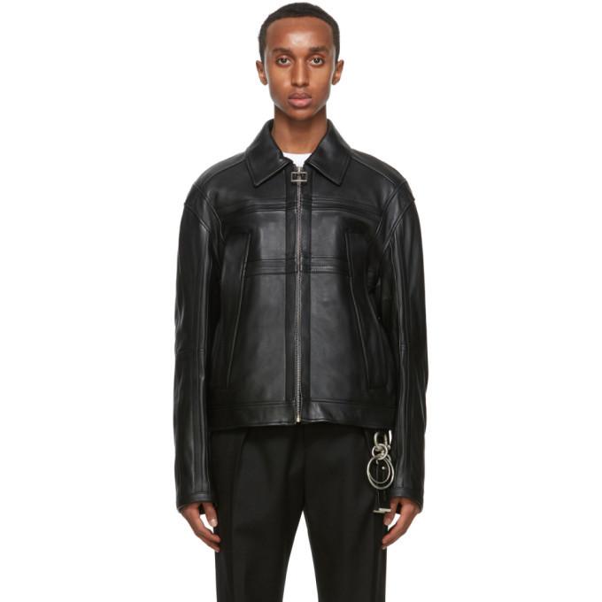 Photo: Wooyoungmi Black Leather Paneled Jacket
