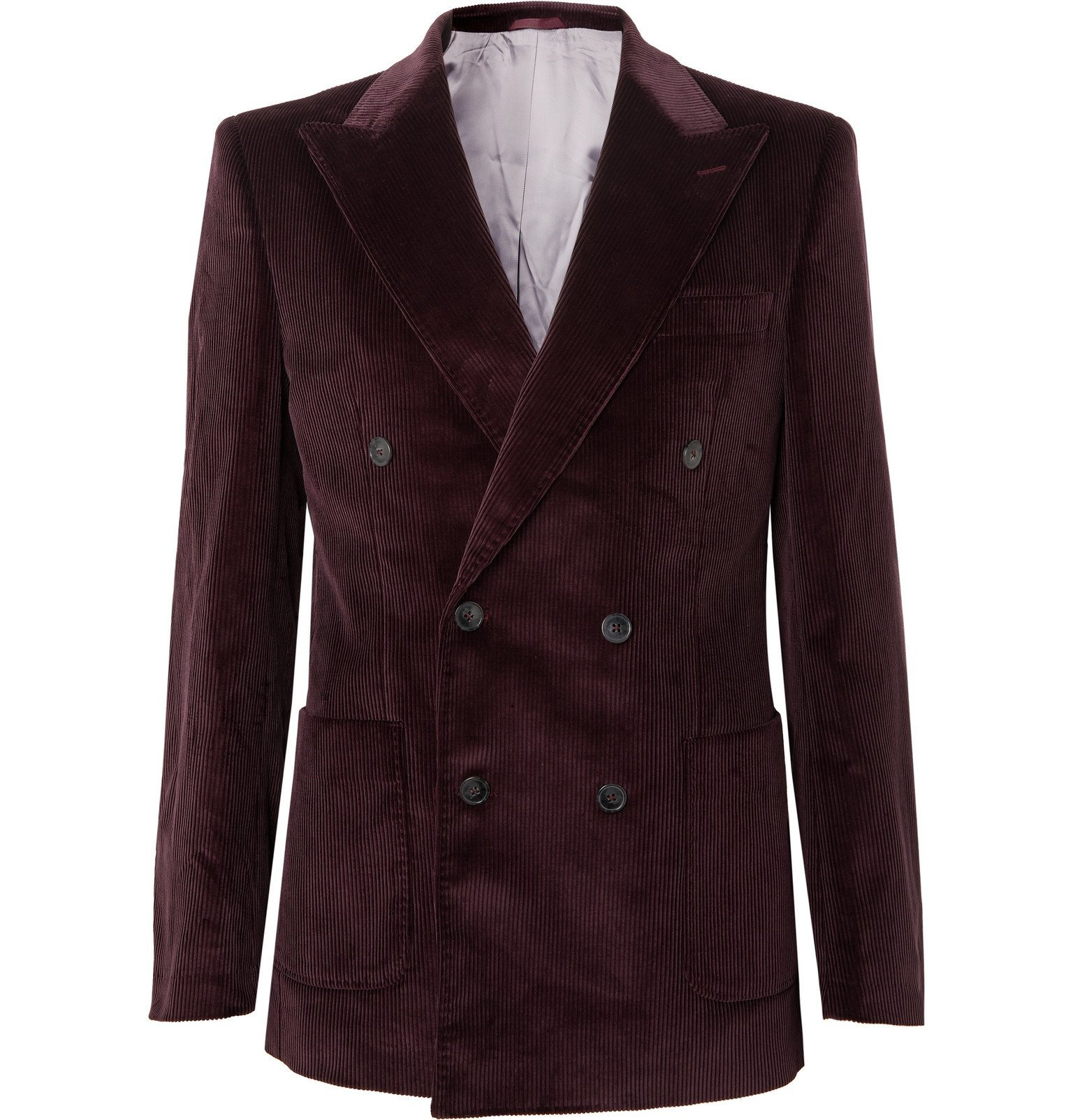 Photo: Très Bien - Purple Double-Breasted Cotton-Corduroy Blazer - Purple
