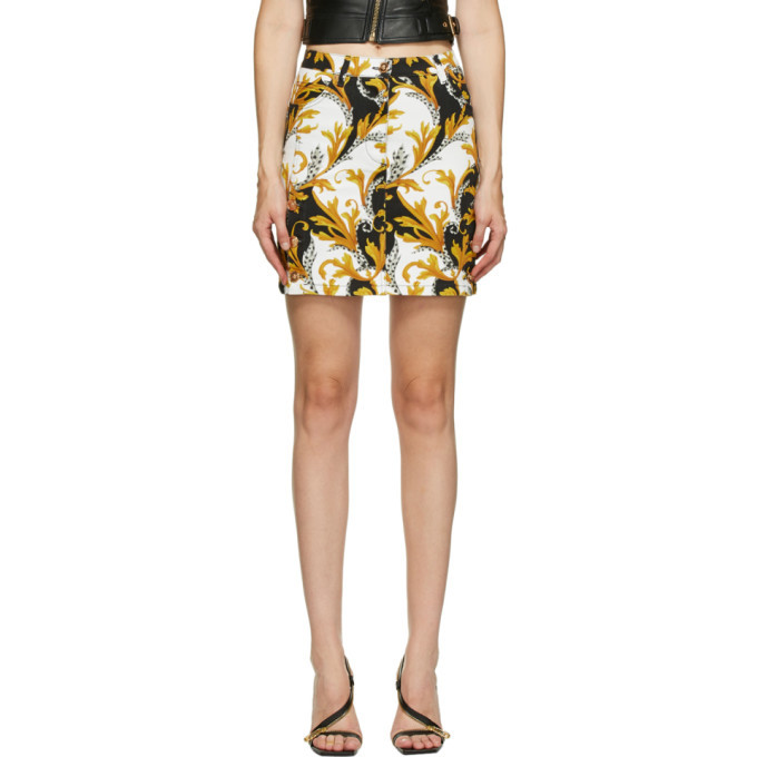 Photo: Versace Black and Gold Denim Miniskirt