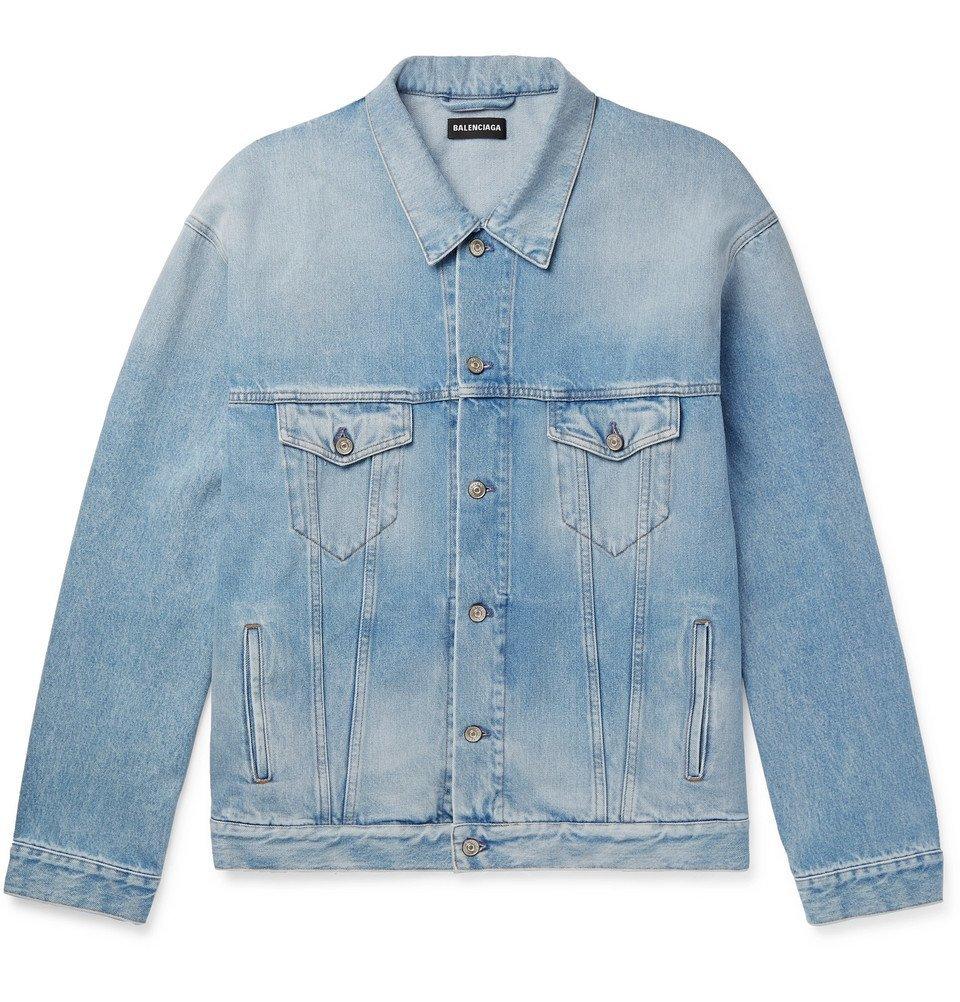 Photo: Balenciaga - Oversized Logo-Appliquéd Distressed Denim Jacket - Indigo