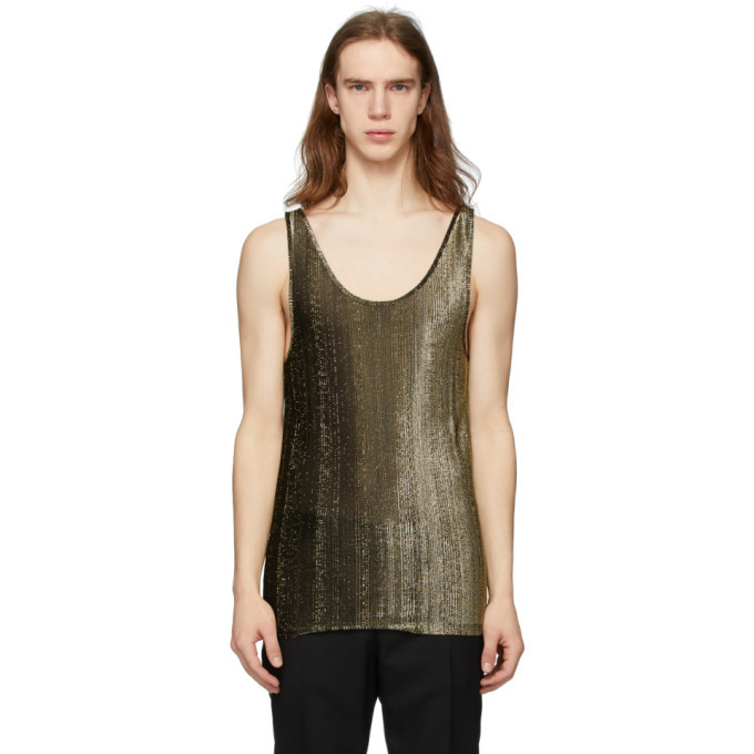 Photo: Saint Laurent Black and Gold Lame Tank Top