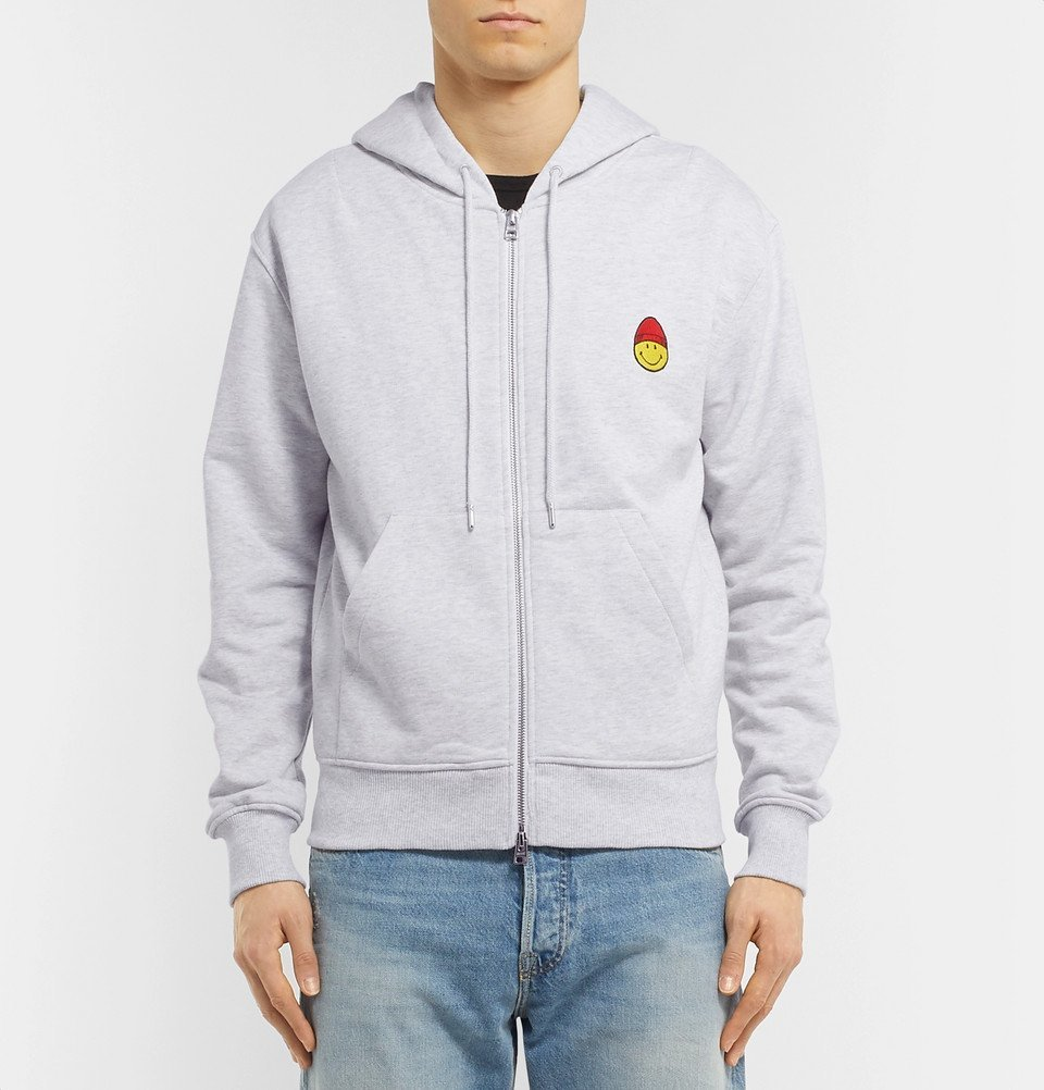 AMI - The Smiley Company Logo-Appliquéd Mélange Loopback Cotton-Jersey Zip-Up Hoodie - Gray