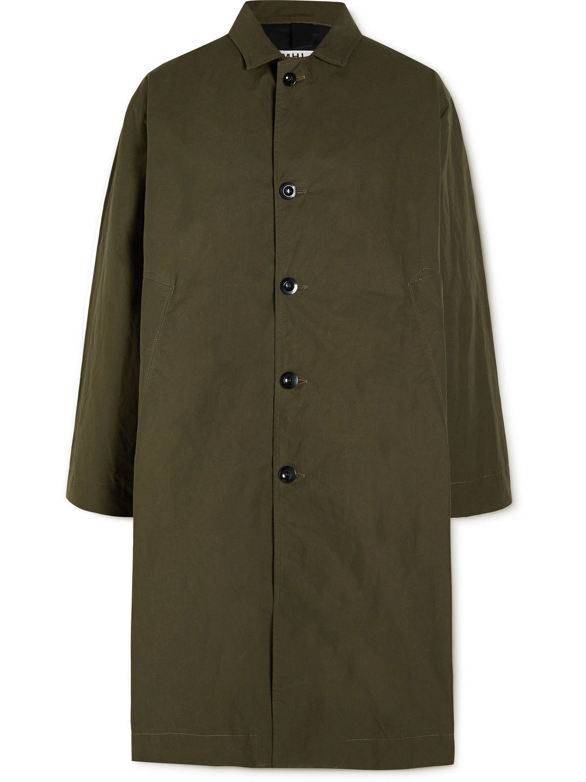 Photo: Margaret Howell - Oversized Waxed-Cotton Trench Coat - Green