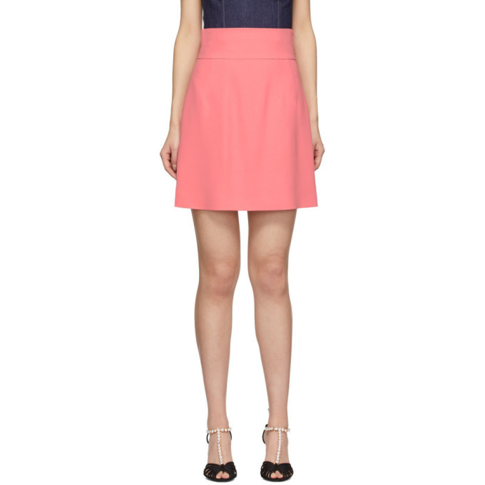 Photo: Dolce and Gabbana Pink Silk Crepe Miniskirt