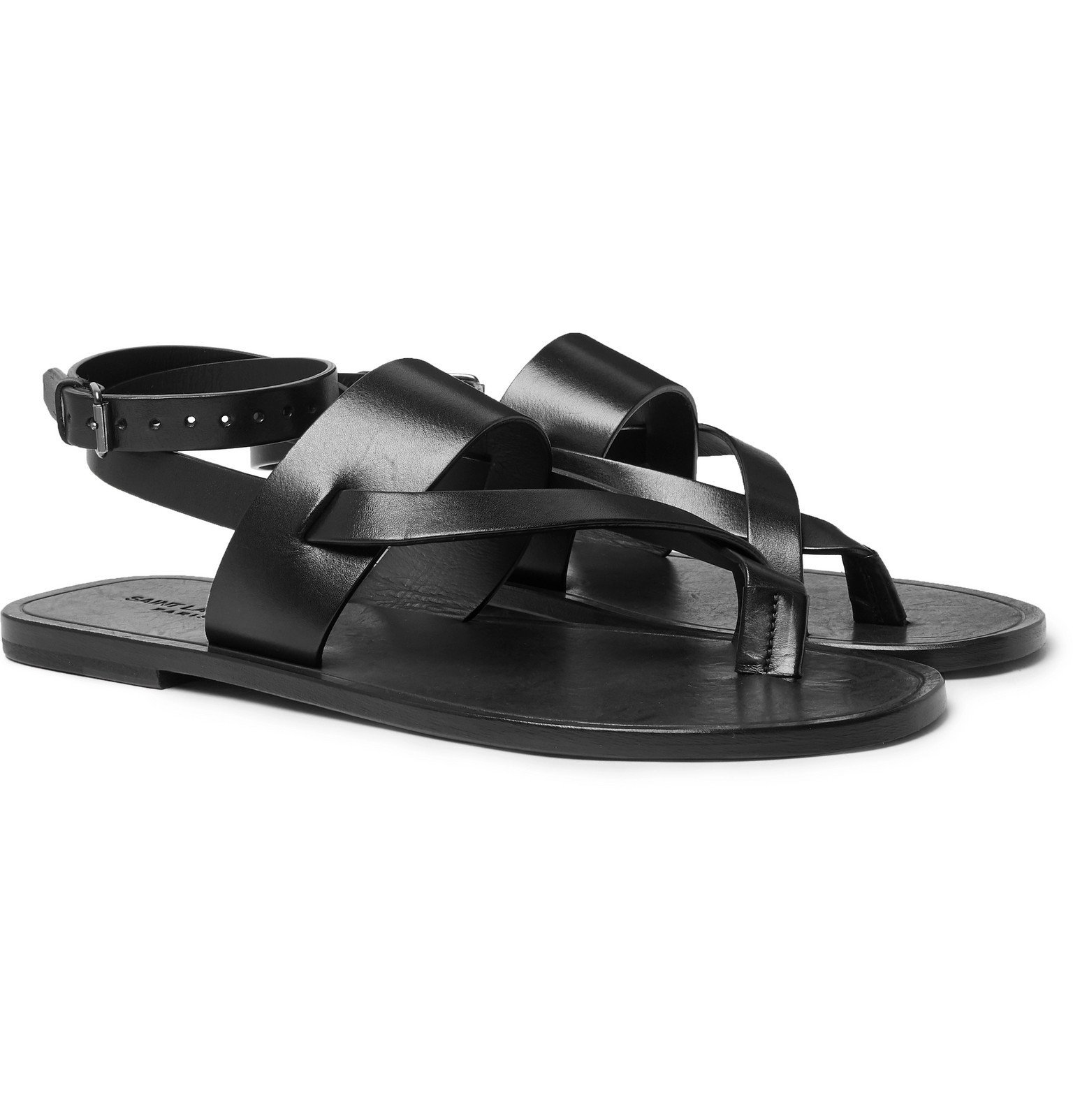 Photo: SAINT LAURENT - Culver Leather Sandals - Black