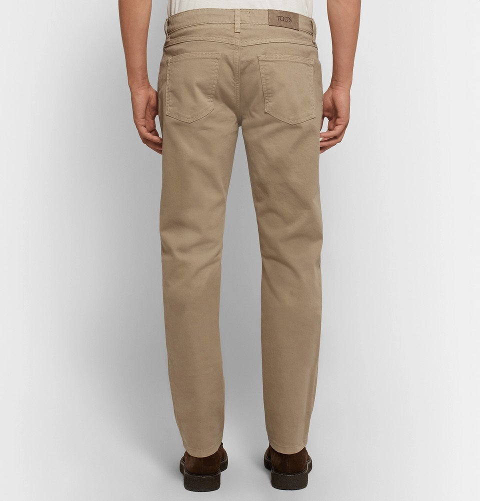 Tod's - Stretch-Cotton Twill Trousers - Men - Beige