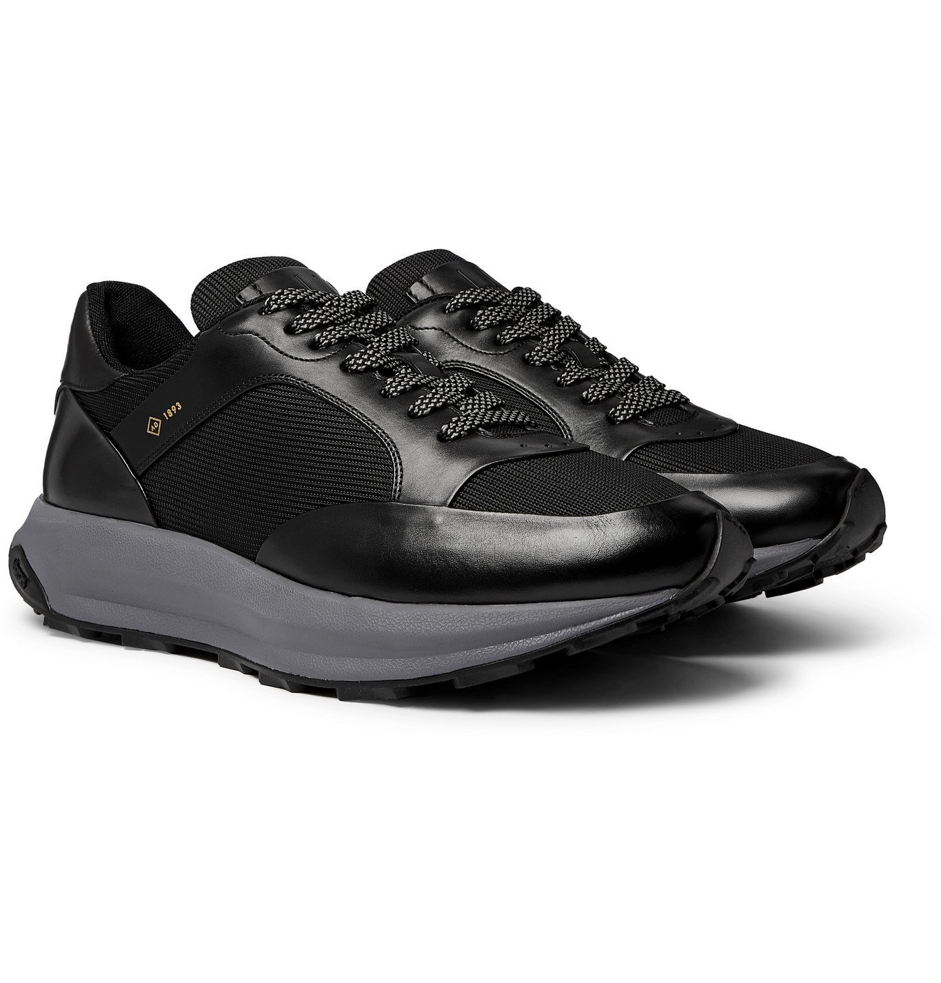 Dunhill - Aerial Patina Mesh and Leather Sneakers - Black