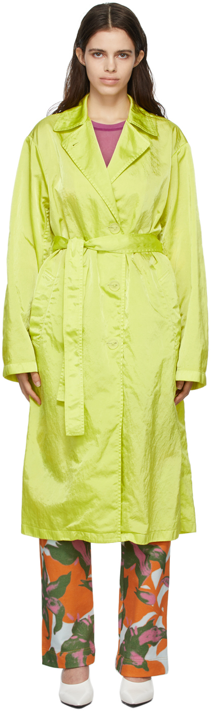 Photo: Dries Van Noten Green Nylon Trench Coat