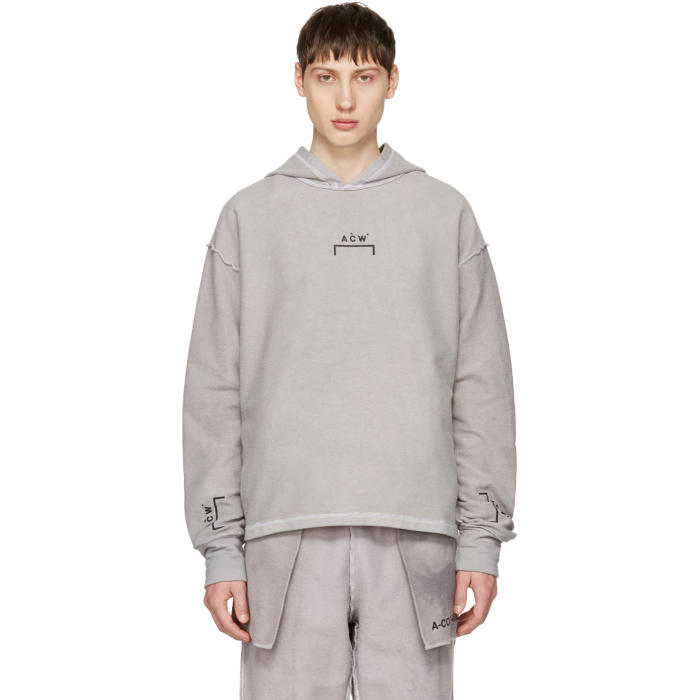3dd70573 A-Cold-Wall* Reversible Grey Oversized Logo Hoodie A-Cold-Wall*