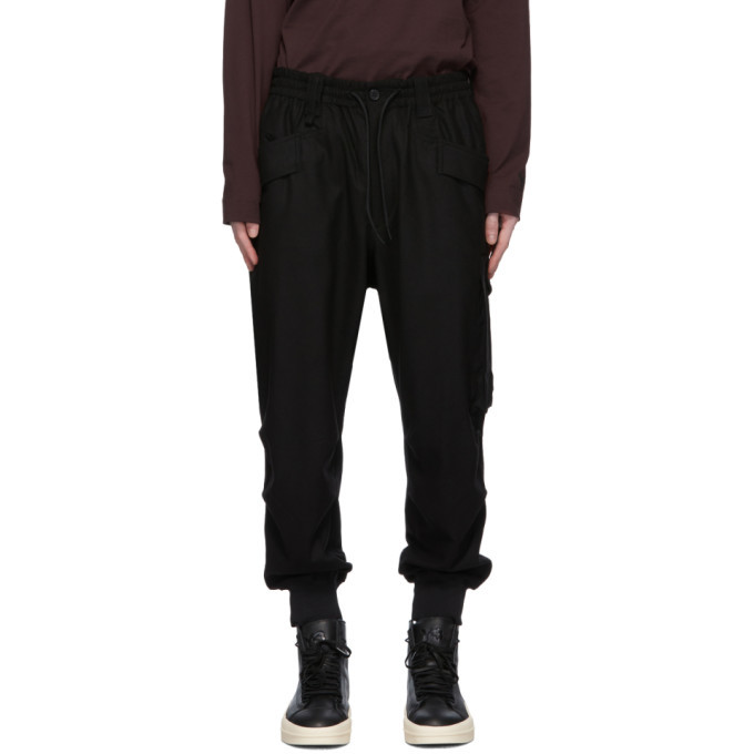 Photo: Y-3 Black Classic Wool Flannel Cargo Pants