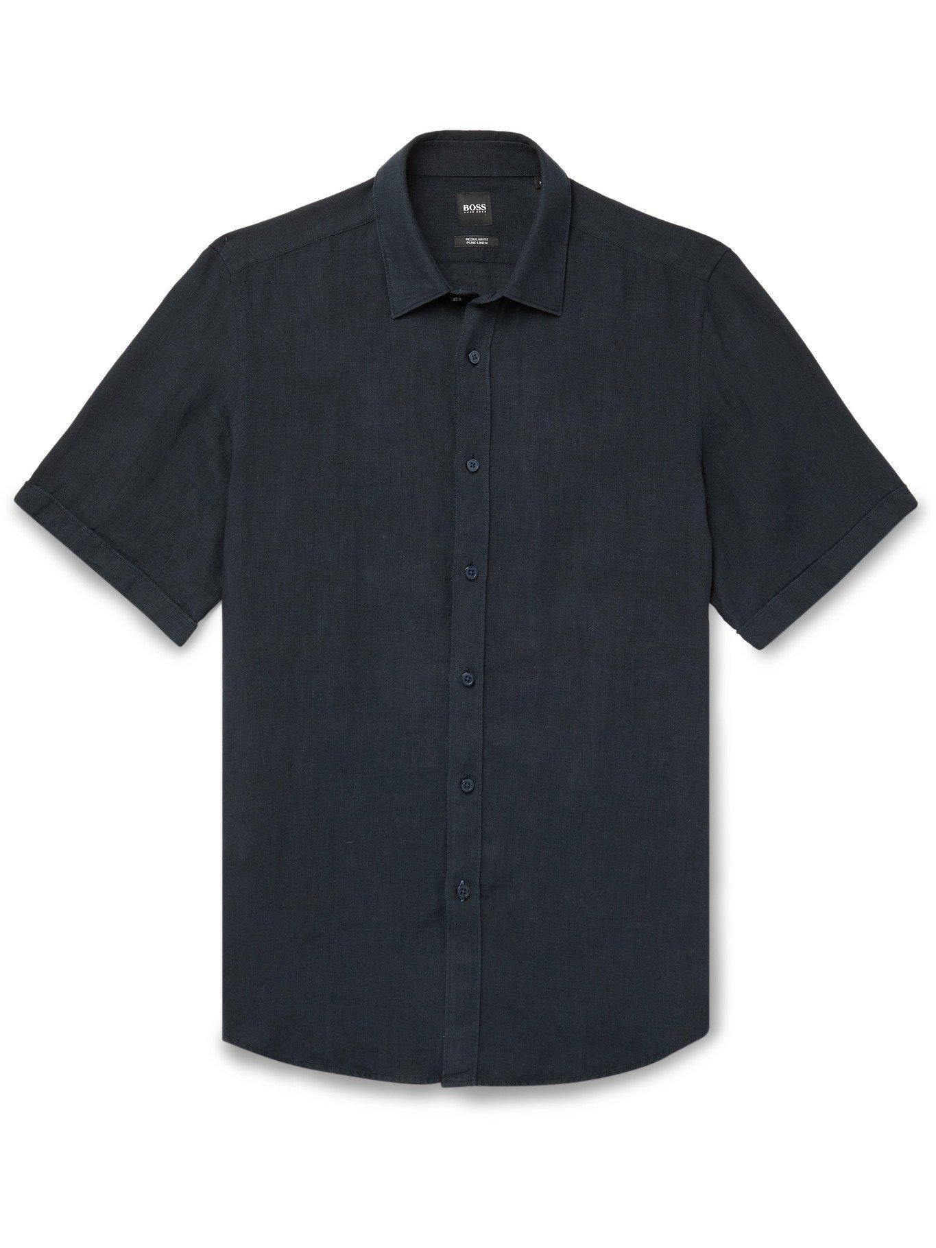 HUGO BOSS - Linen Shirt - Blue