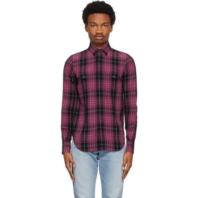 Photo: Saint Laurent Black and Pink Slim Tartan Shirt