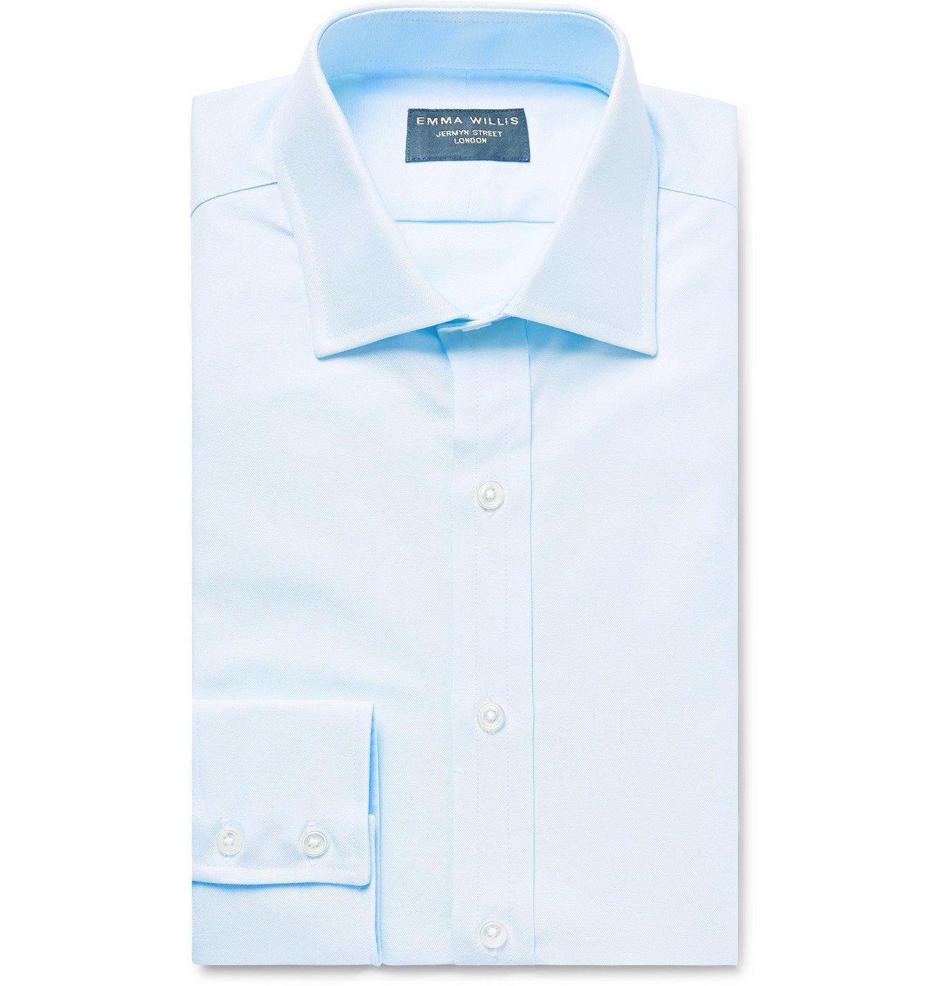 Photo: Emma Willis - Sky-Blue Slim-Fit Cotton Oxford Shirt - Blue
