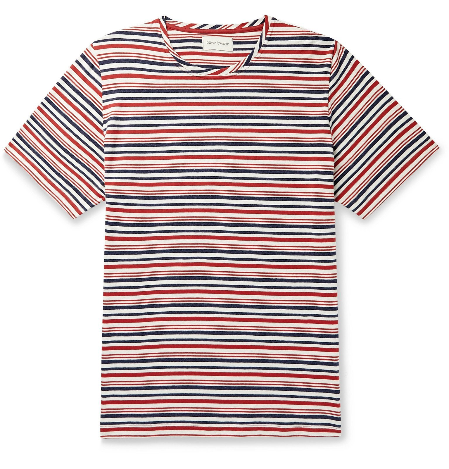 Photo: Oliver Spencer - Striped Cotton-Jersey T-Shirt - Red