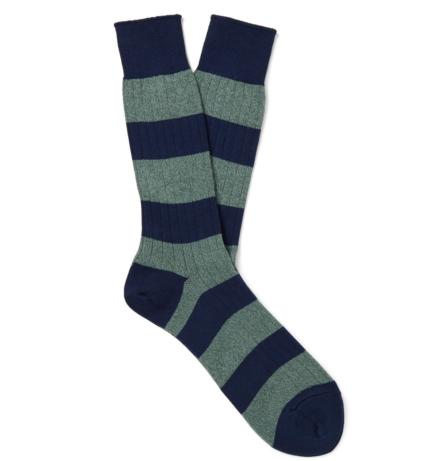 Photo: Mr P. - Striped Mélange Cotton-Blend Socks - Green