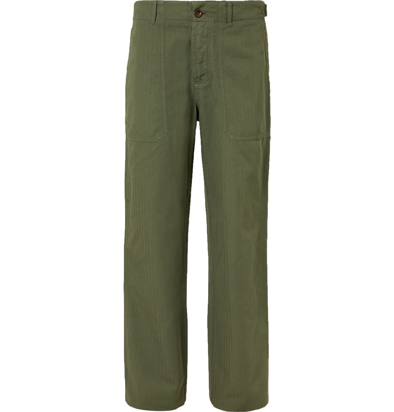 Photo: Mr P. - Herringbone Cotton and Linen-Blend Chinos - Green