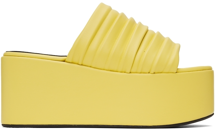 Photo: Simon Miller Yellow Pleated Coaster Platform Sandals