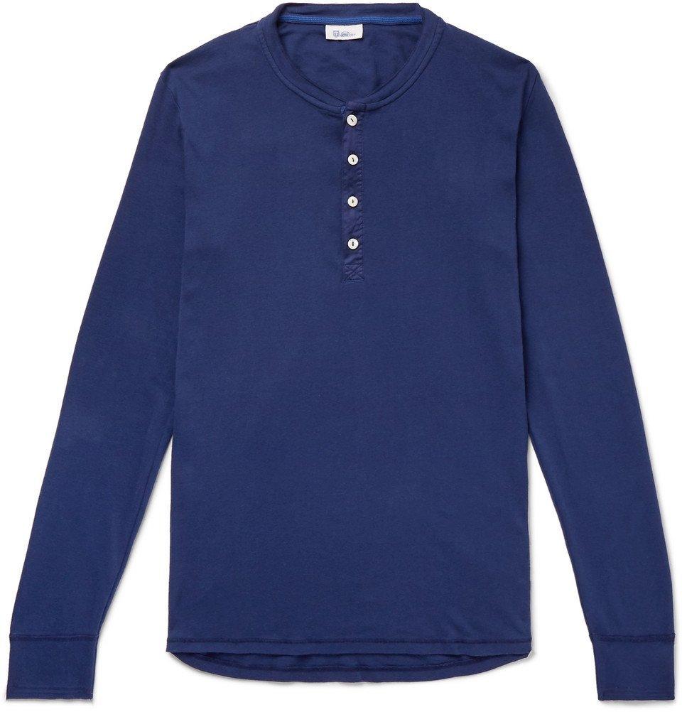 Schiesser - Karl Heinz Slim-Fit Garment-Dyed Cotton-Jersey Henley T-Shirt - Men - Blue