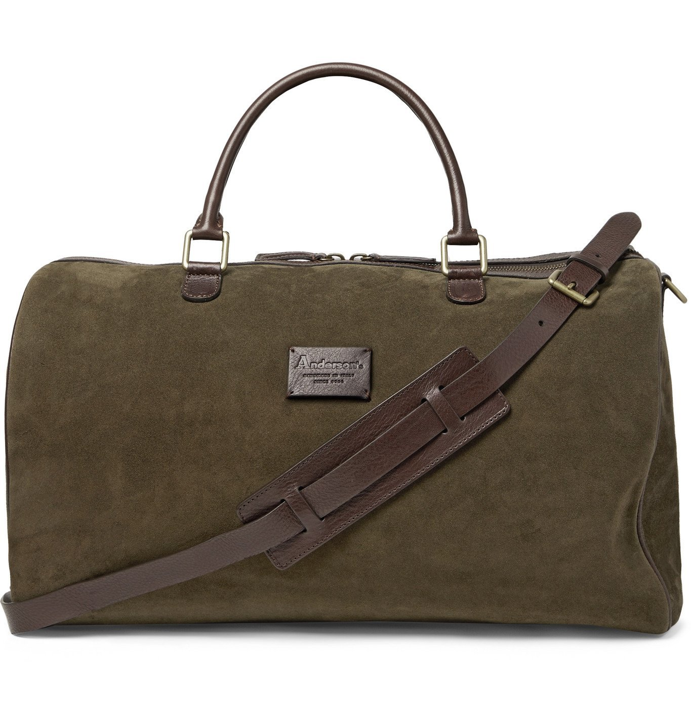 Photo: Anderson's - Leather-Trimmed Suede Duffle Bag - Green