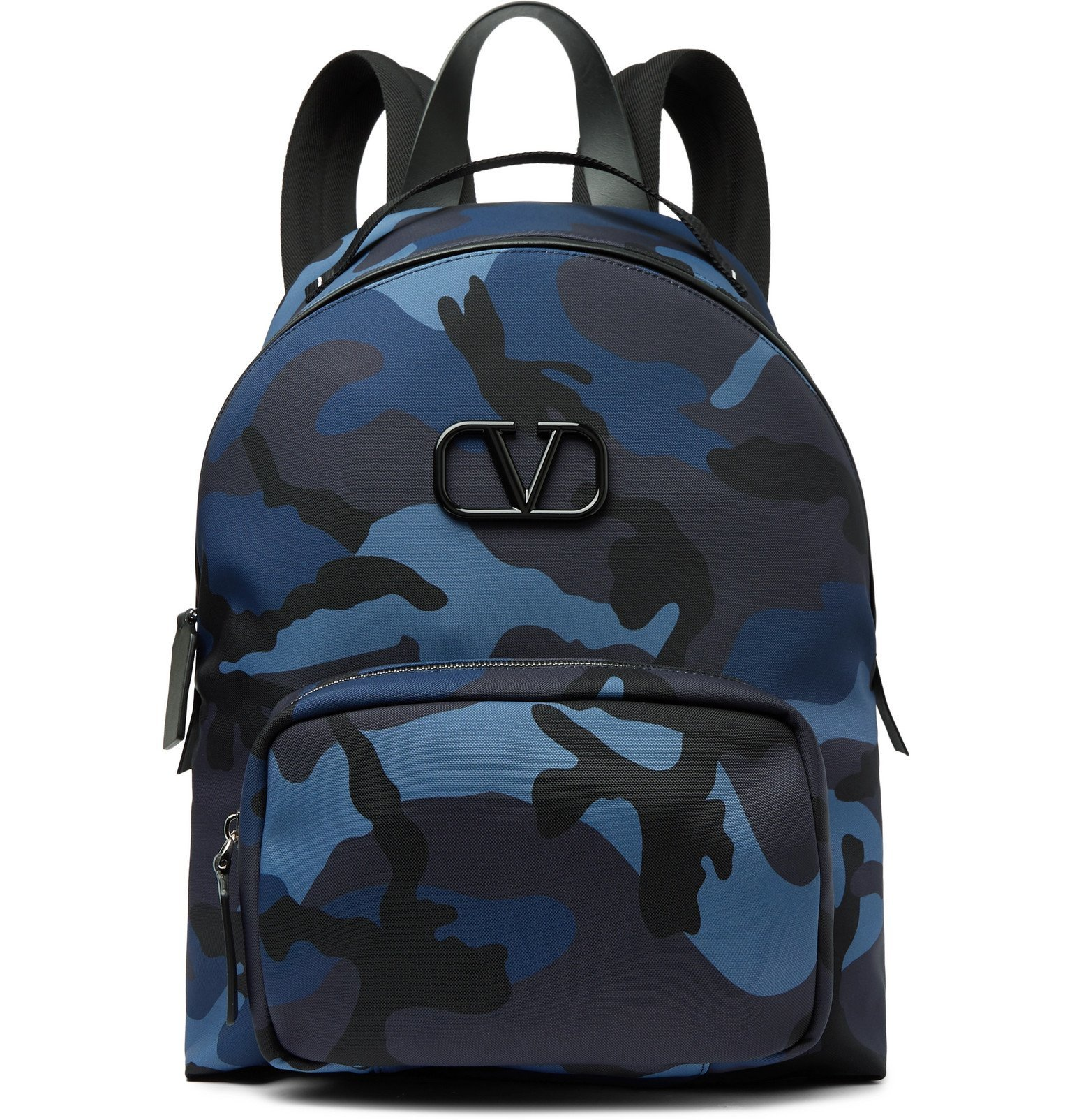 Photo: Valentino - Valentino Garavani Leather-Trimmed Camouflage-Print Canvas Backpack - Blue