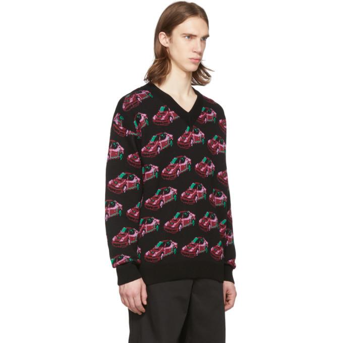 Versace Black Car V-Neck Sweater