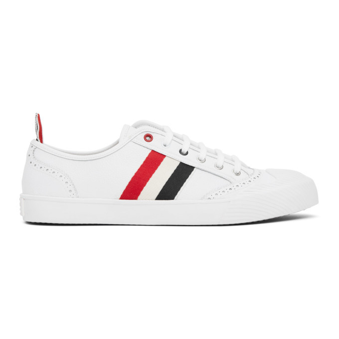 Photo: Thom Browne White Vulcanized Brogued Sneakers