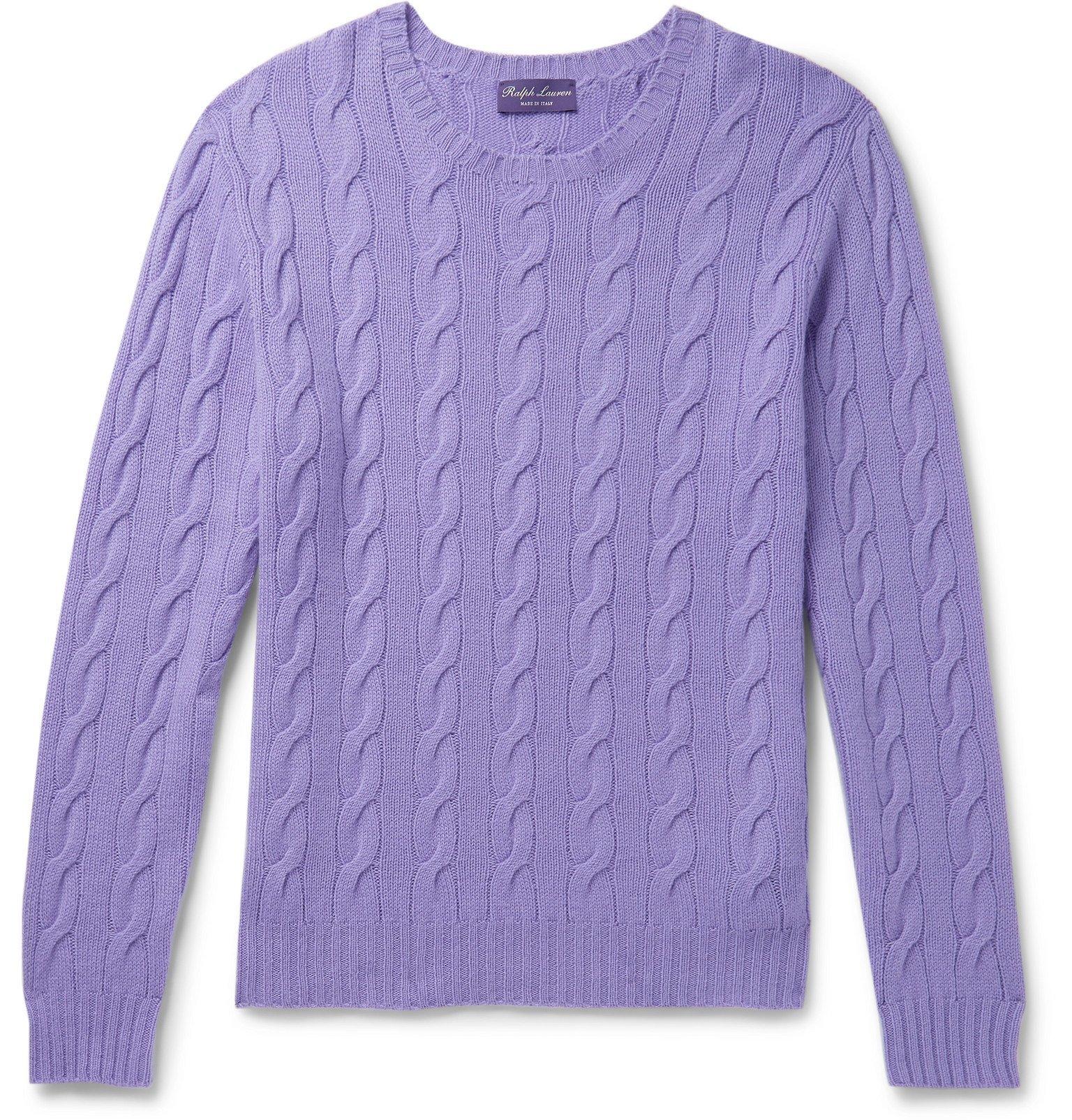 Photo: Ralph Lauren Purple Label - Cable-Knit Cashmere Sweater - Purple