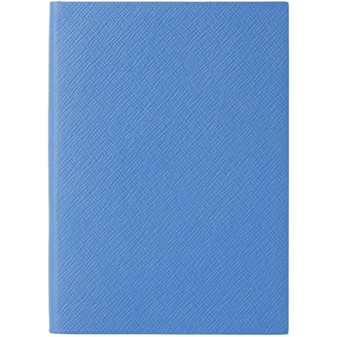 Smythson Blue Leather Soho Notebook