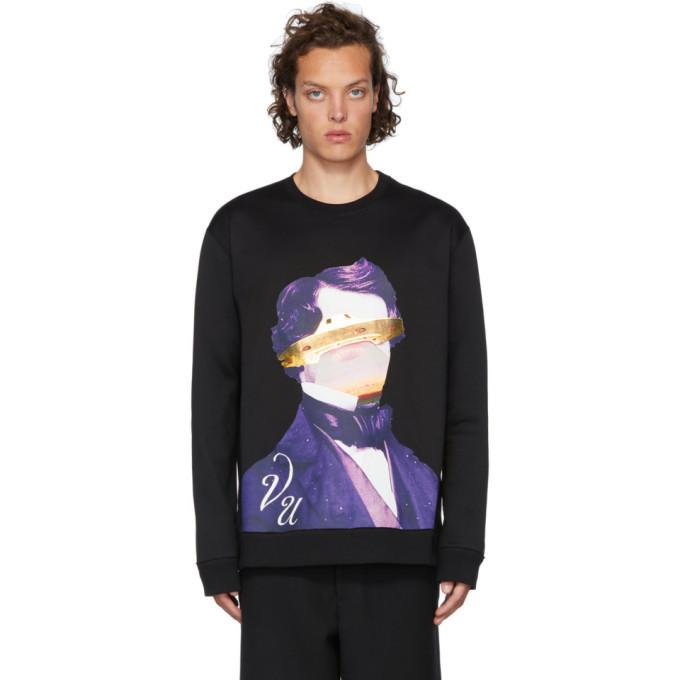 Photo: Valentino Black Undercover Edition V Face UFO Print Sweatshirt