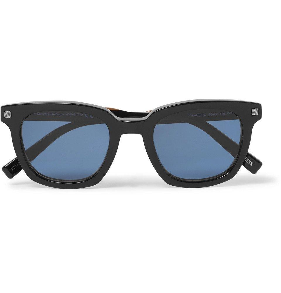 Photo: Ermenegildo Zegna - Square-Frame Acetate Polarised Sunglasses - Black