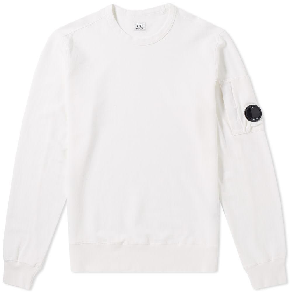 C.P. Company Garment Dyed Light Fleece Arm Lens Sweat White