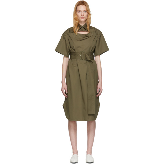 Bottega Veneta Green Cotton Belted Dress