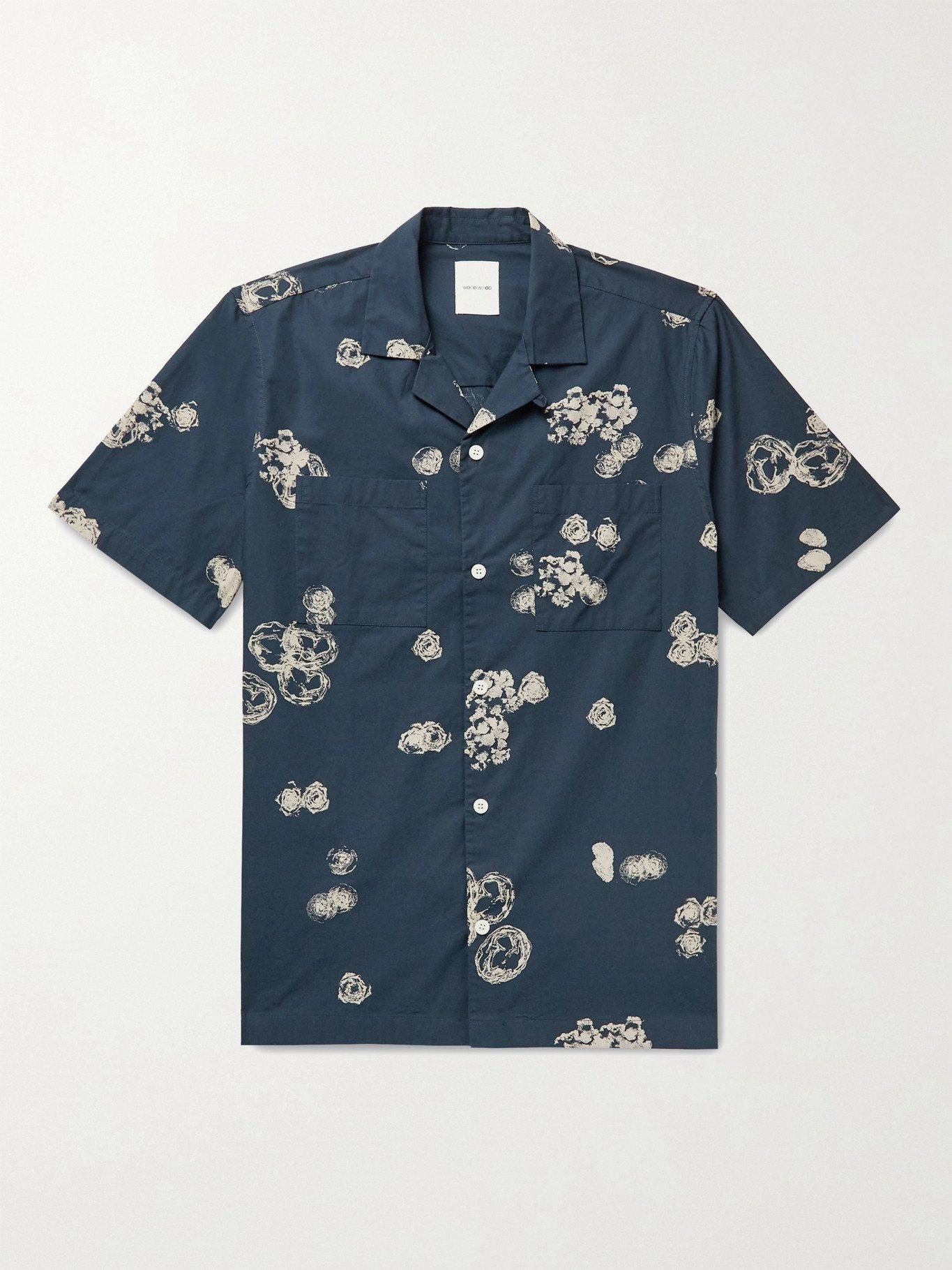 Photo: Wood Wood - Brandon Camp-Collar Printed Organic Cotton-Poplin Shirt - Blue