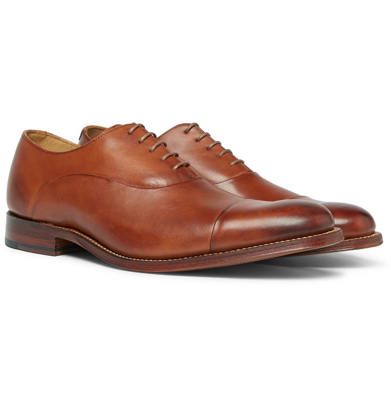 Photo: Grenson - Bert Cap-Toe Leather Oxford Shoes - Brown