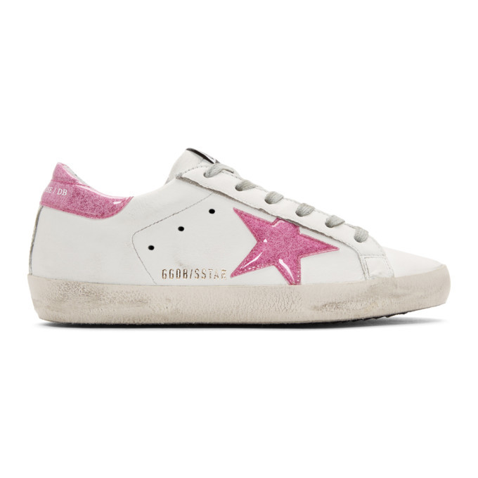 Golden Goose White and Pink Glitter