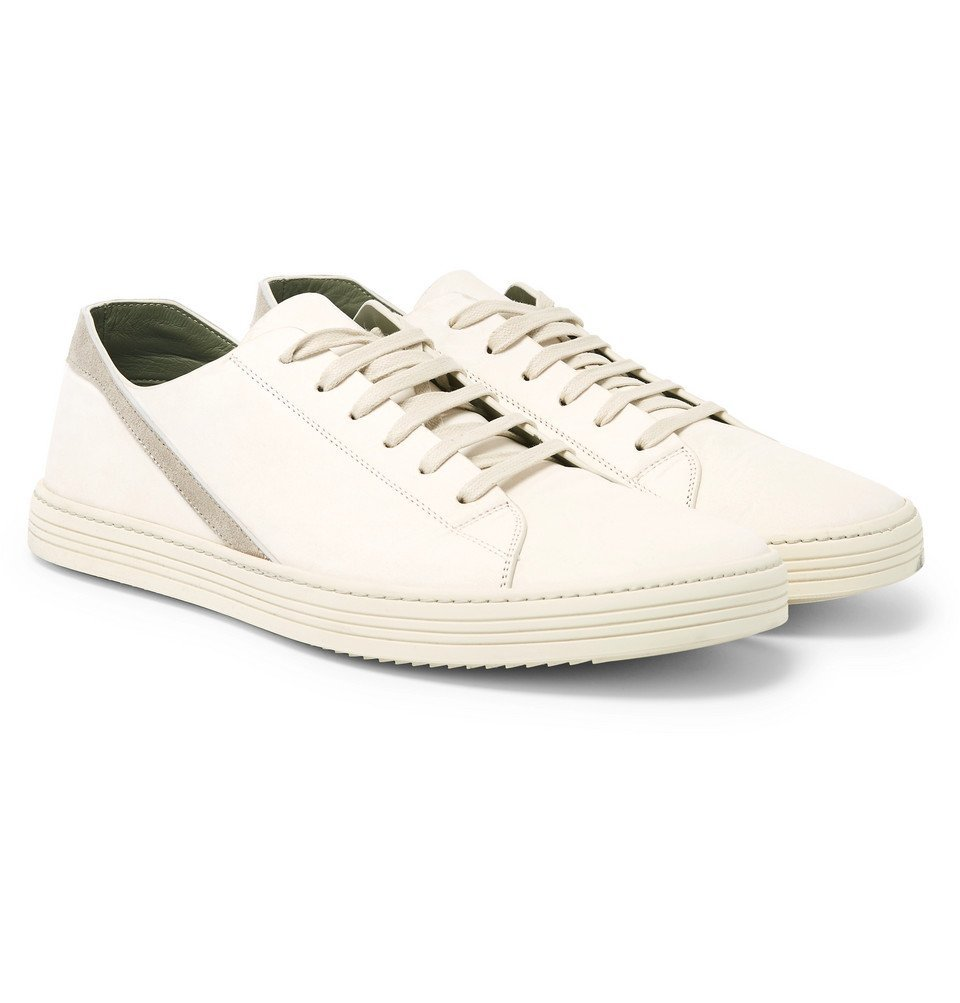 Photo: Rick Owens - Geotrasher Suede-Trimmed Leather Sneakers - Off-white