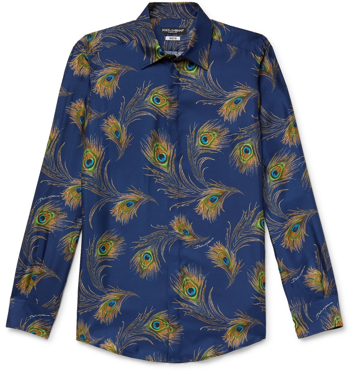 Photo: Dolce & Gabbana - Slim-Fit Printed Silk-Twill Shirt - Blue