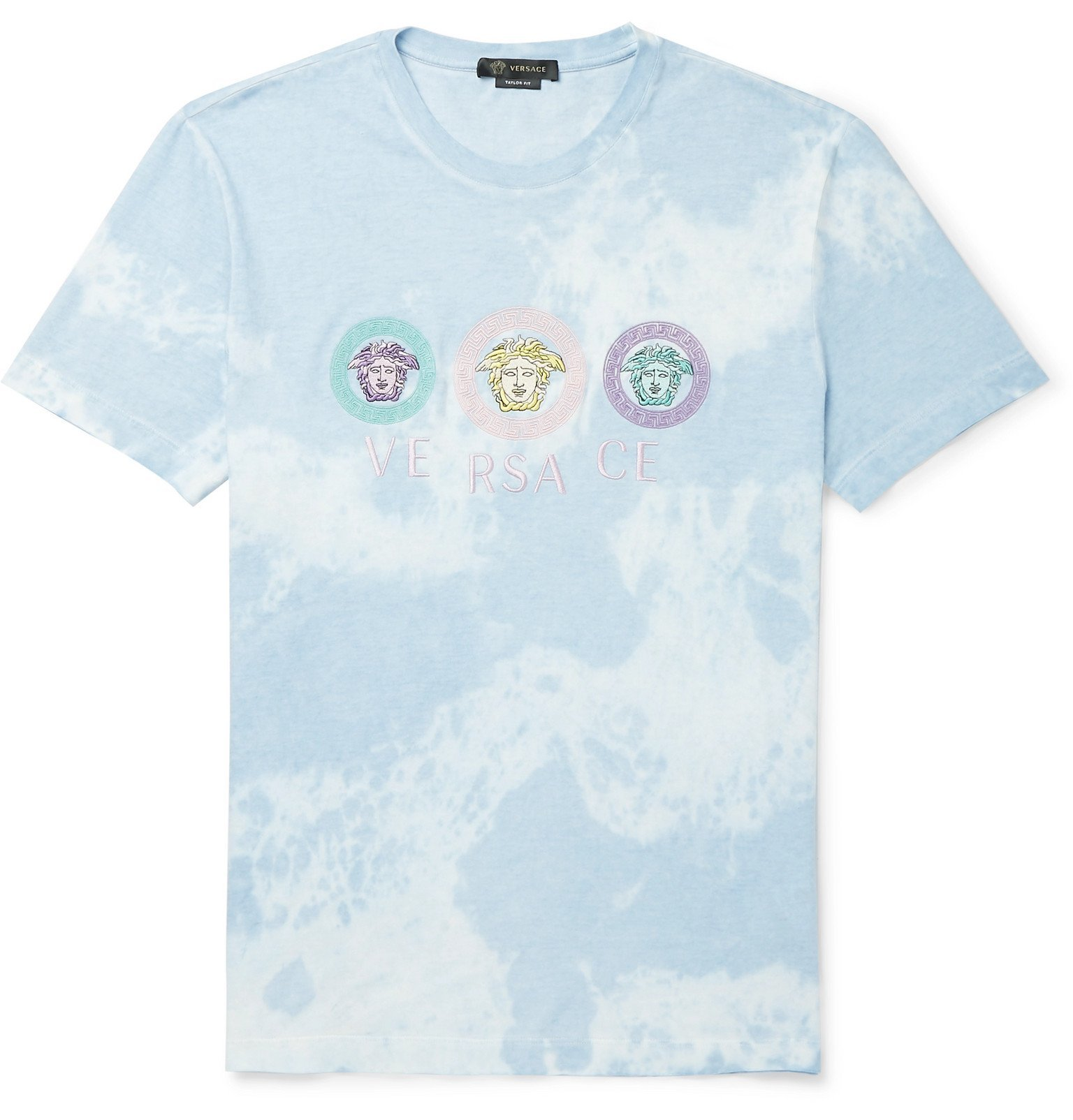 Photo: Versace - Logo-Embroidered Tie-Dyed Cotton-Jersey T-Shirt - Blue