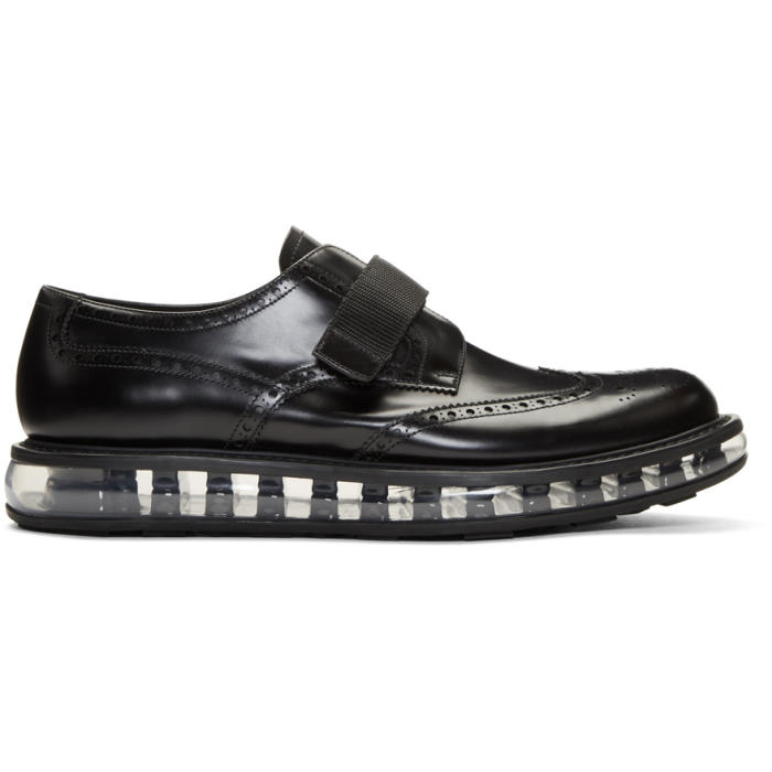 Photo: Prada Black Wingtip Strap Creeper Brogues