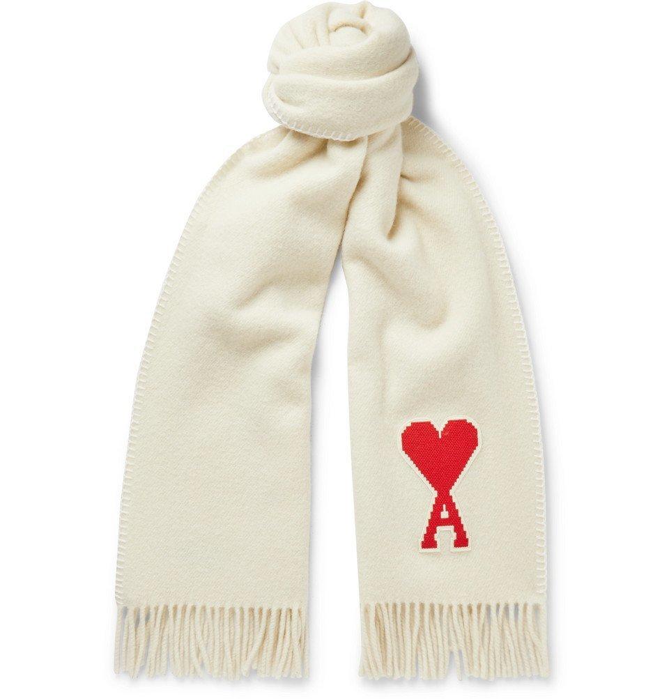 Photo: AMI - Logo-Appliquéd Fringed Virgin Wool Scarf - Off-white