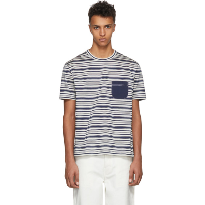 Photo: Junya Watanabe Navy and White Horizontal Striped T-Shirt