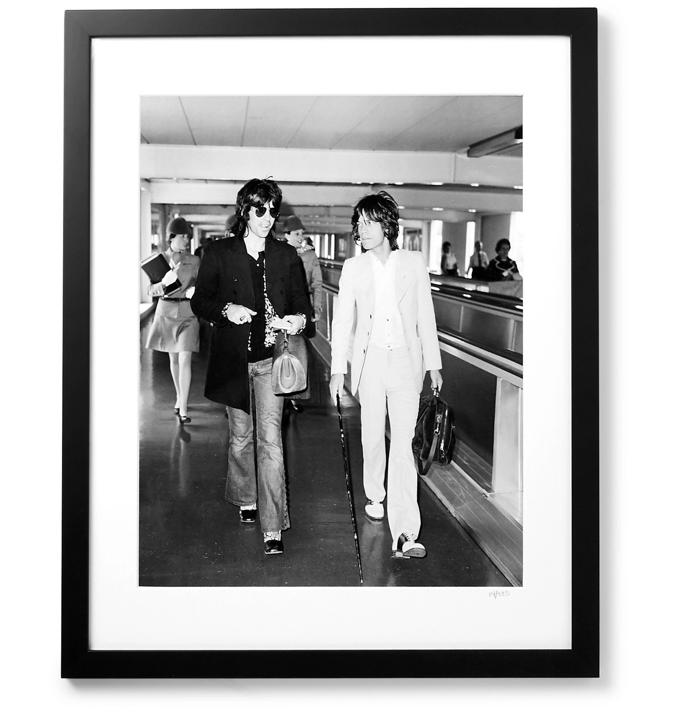 """Photo: Sonic Editions - Framed 1972 Keith & Mick at the Airport Print, 16 x 20"""""""" - Black"""