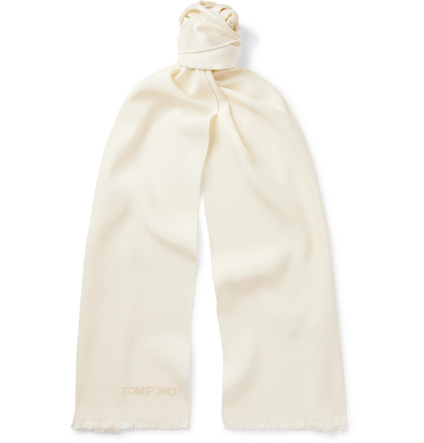 Photo: TOM FORD - Fringed Logo-Embroidered Silk Scarf - White