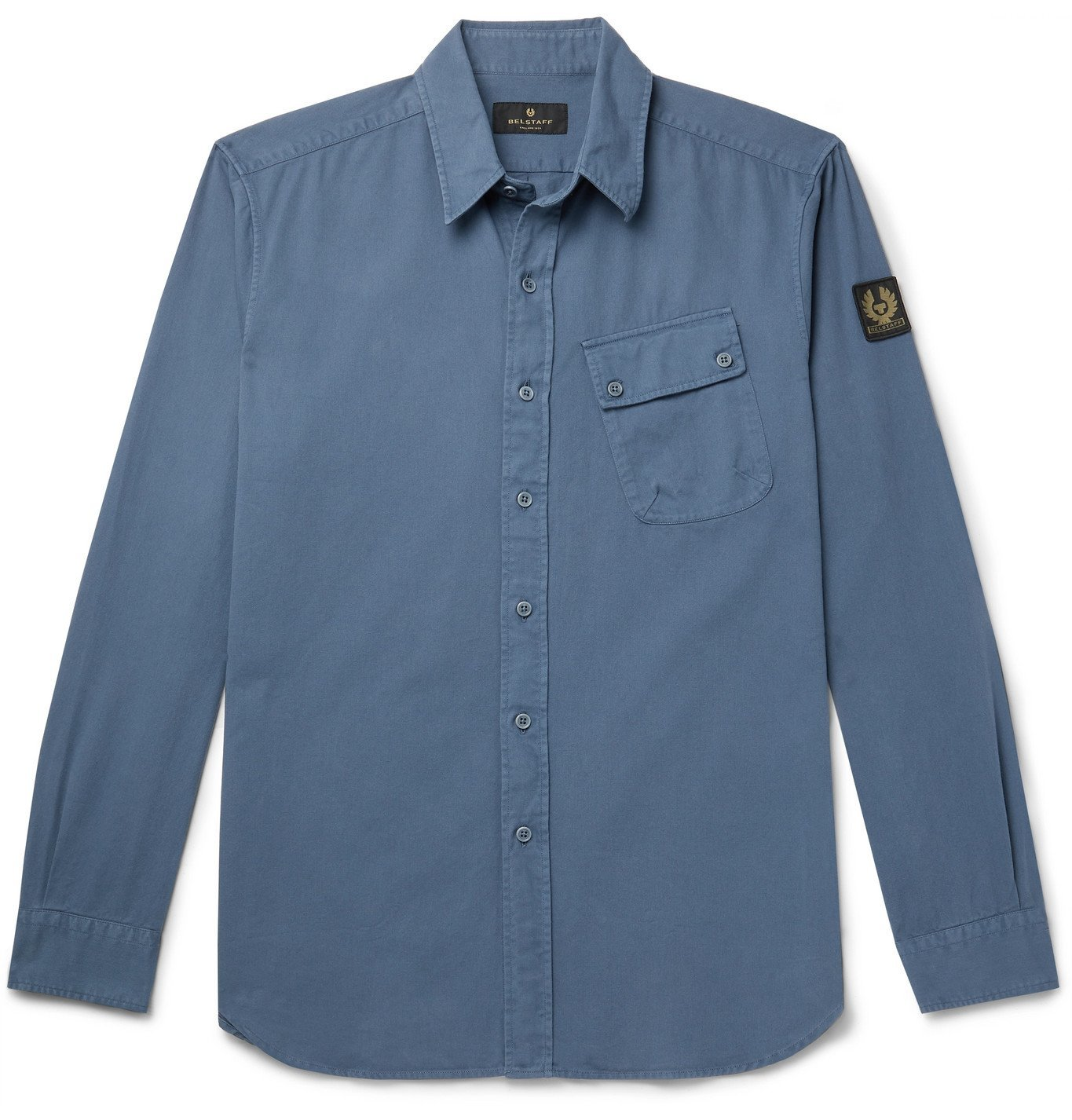 Photo: BELSTAFF - Pitch Logo-Appliquéd Garment-Dyed Cotton-Twill Shirt - Blue