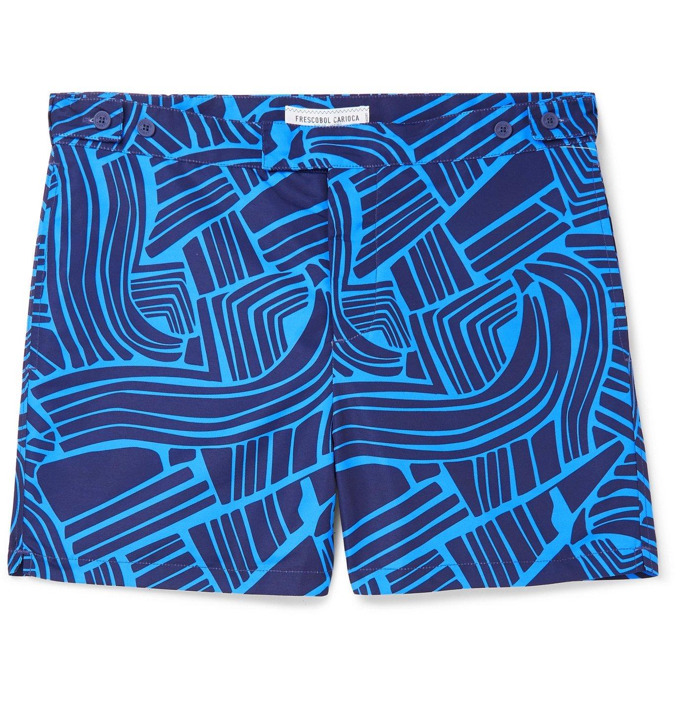 Photo: Frescobol Carioca - Tidal Mid-Length Printed Swim Shorts - Blue